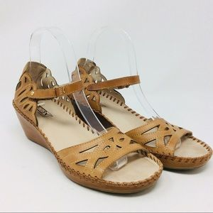 Pikolinos Wedge Sandals Open Toe Leather